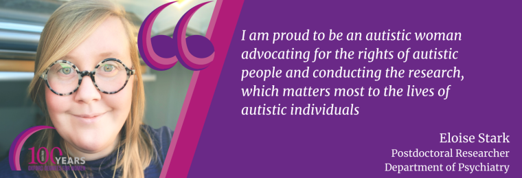 Eloise says I am proud to be an autistic woman advocating for the rights of autistic people and conducting the research, which matters most to the lives of autistic individuals