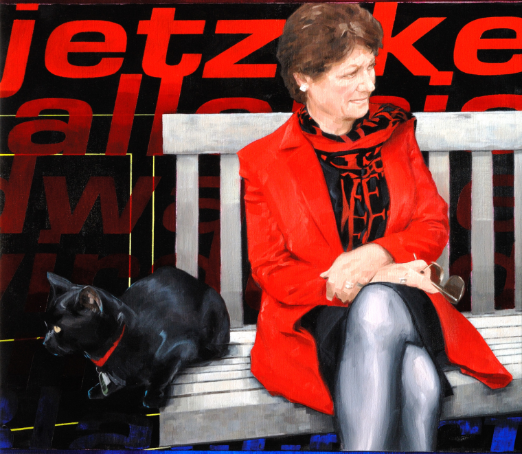 Dame Fiona Caldicott sat on bench with cat, Pogo