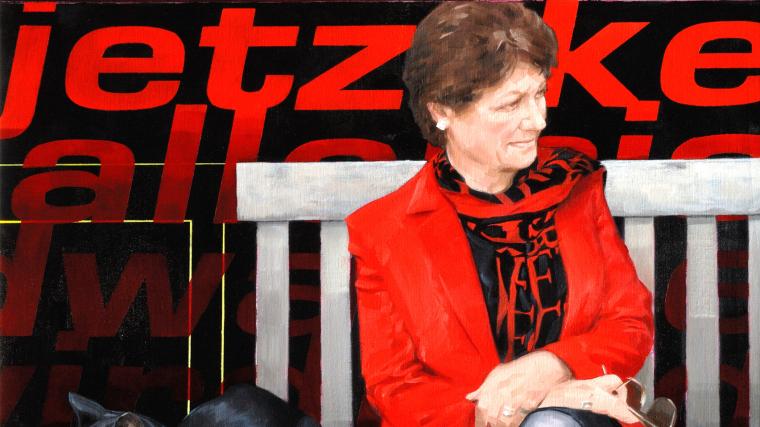 Dame Fiona Caldicott sat on bench with cat, Pogo