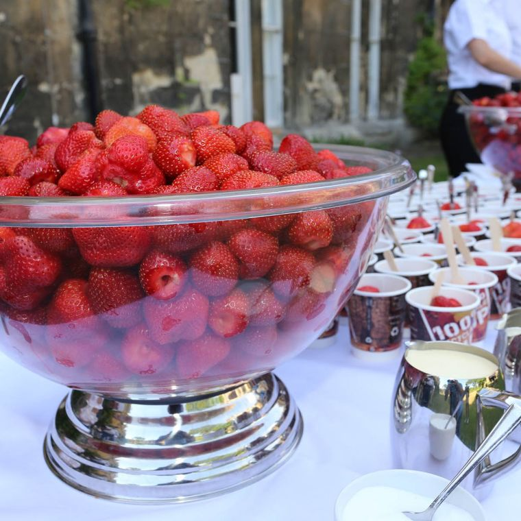 Big bowl of strawberries, a jug of cream and several cups of strawberries on a long table