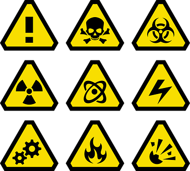 9 standard safety icons including emergency, hazardous, electricity and fire