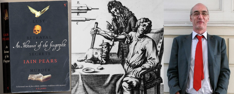 Front cover of An Instance of the Fingerpost with illustrations of a dove, skull and open book, black and white drawing of Richard Lower taking a blood transfusion, and a portrait photo of Iain Pears