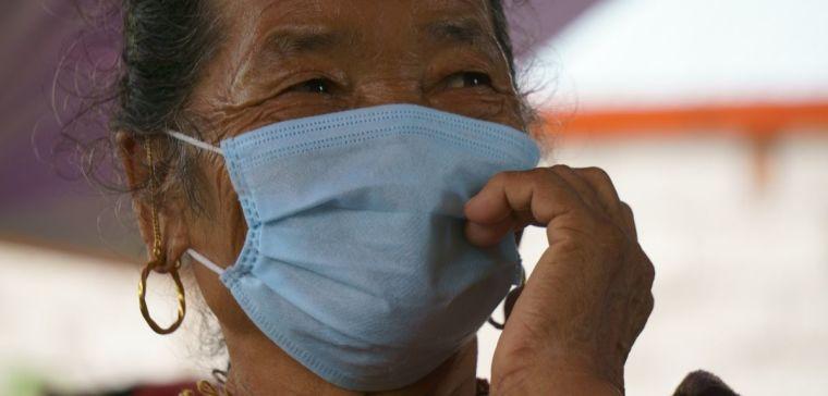 Nepalese women wearing a mask
