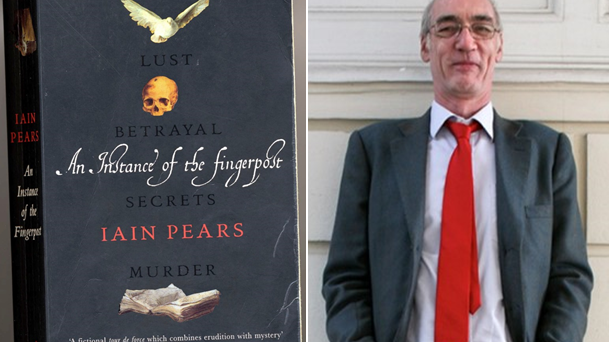 Front cover of An Instance of the Fingerpost with illustrations of a dove, skull and open book, alongside portrait photo of Iain Pears