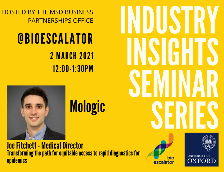 Flyer for the industry Insight Seminar with Mologic on the 2nd March 2021