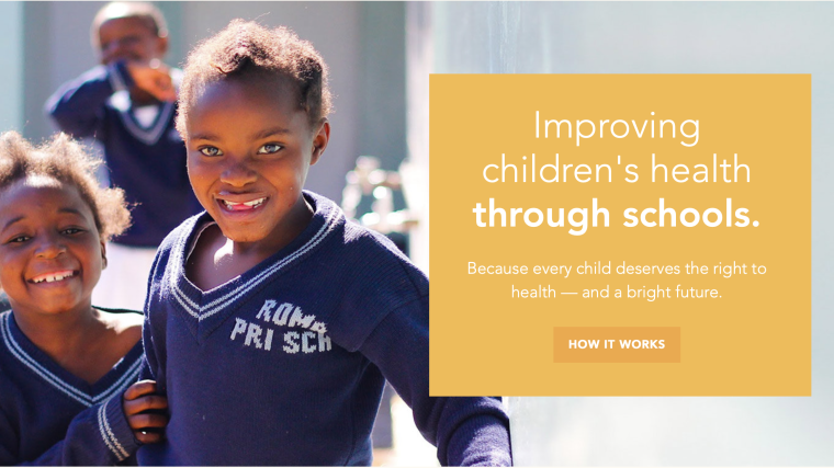 School children with the text: Improving children's health through schools. Because every child deserves the right to health - and a bright future