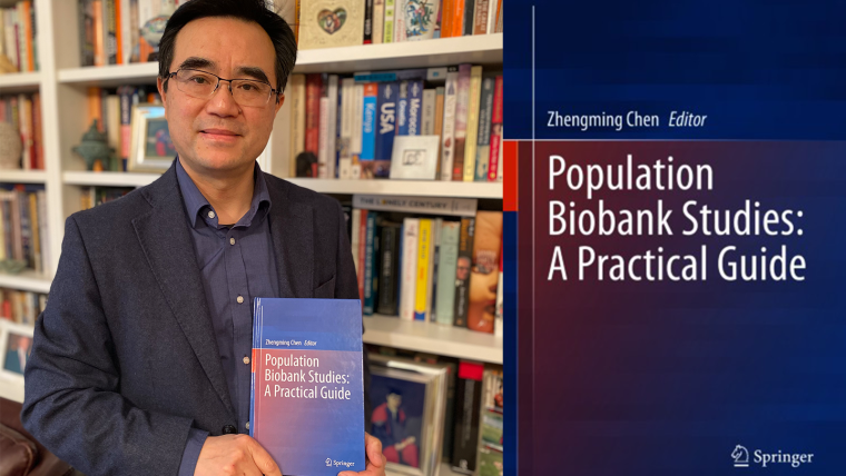 Zhengming Chen holding a copy of his book and an image of the book cover.
