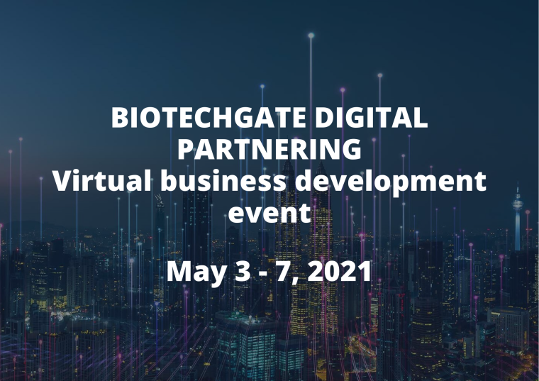 This image is advertising the Biotechgate Digital Partnering Virtual Business Development event. The text is in white. The background is of a city at night.