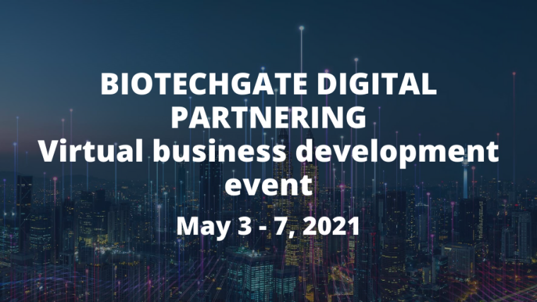 This image is advertising the Biotechgate Digital Partnering Virtual Business Development event. The text is white. The background is a city at night.