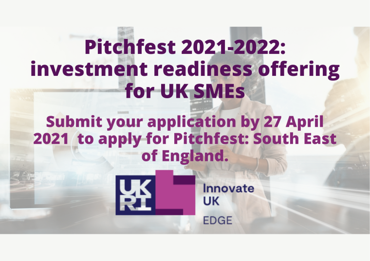 This image is advertising Pitchfest 2021-2022. This background image is of a woman pitching her idea on a tv screen with a futuristic cityscape behind her. The title text is in varying shades of purple.