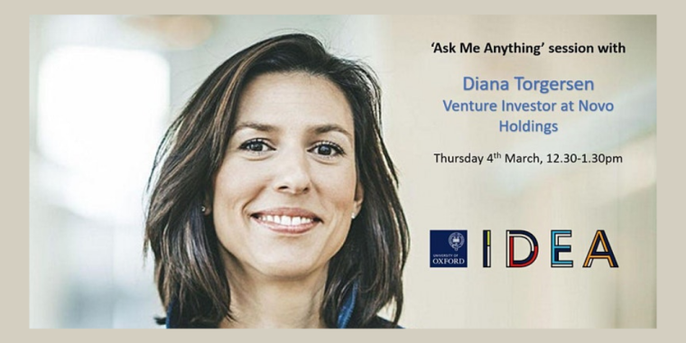 "This image is advertising the first IDEA ""Ask Me Anything"" with Diana Torgersen, Venture Investor at Novo Holdings."