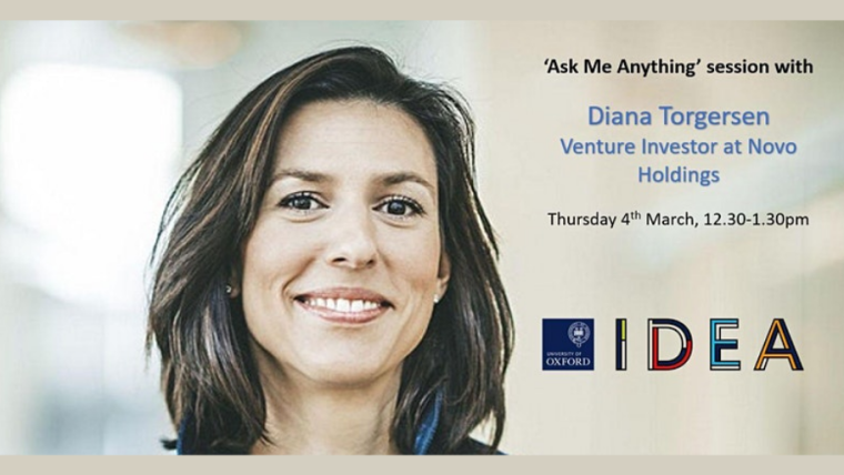"""This image is advertising the first IDEA """"Ask Me Anything"""" with Diana Torgersen, Venture Investor at Novo Holdings."""