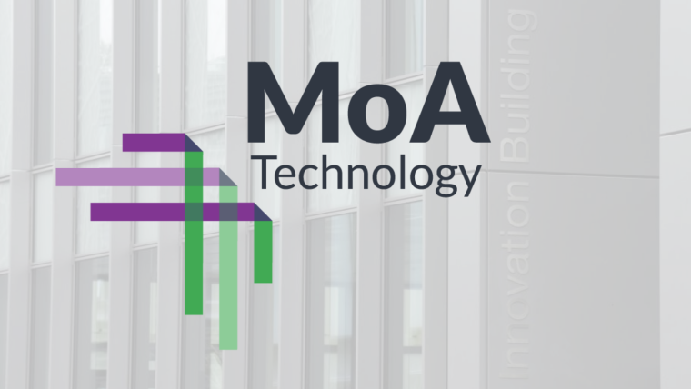 MoA logo placed over the BioEscalator Innovation Building.