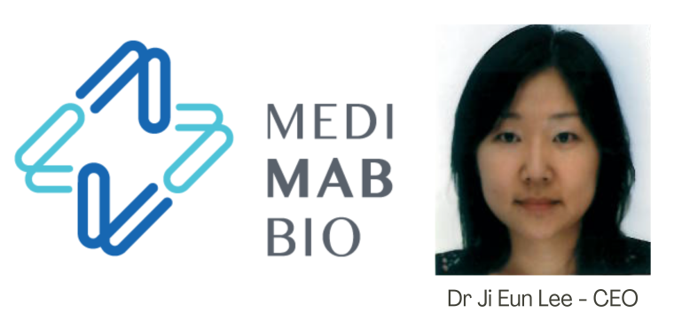 Logo for MediMab Bio with phot of CEO Ji Eun Lee