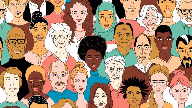 A hand-drawn illustration of a diverse group of people.