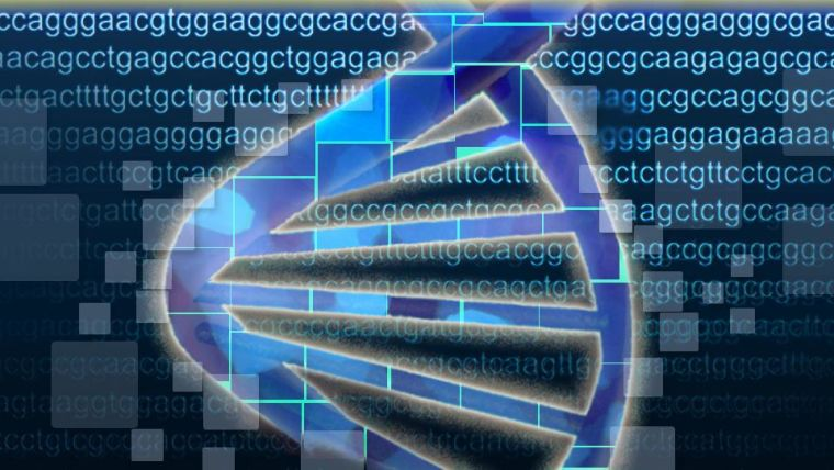 An animated drawing of the DNA double helix on a background of DNA sequence (a, c, g, t)