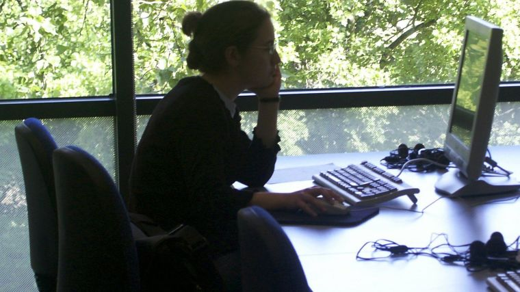 Student using a computer in the Medical Sciences Teaching Centre