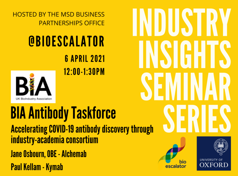 Flyer for the Industry Insight Seminar on 6th April 2021 featuring the BIA antibody taskforce