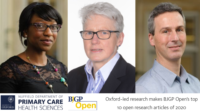 Three images of Oxford researchers who make the BJGP Open's top 10 open research articles of 2020.