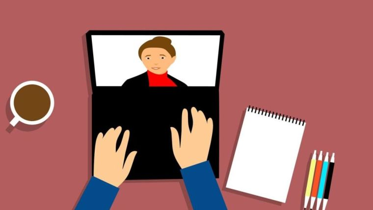 A graphic of somebody doing a video call on a laptop.