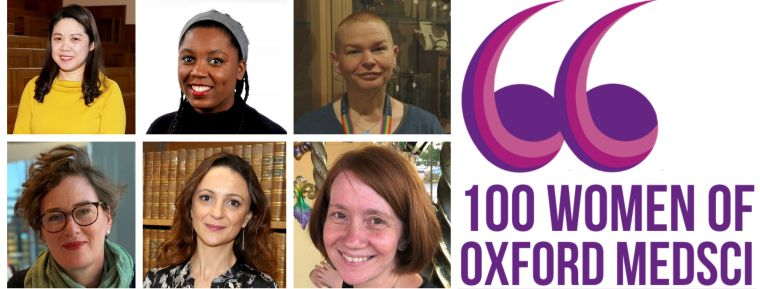 Dan Li, Eboni Bucknor, Jennifer Spencer, Sally Vine, Samira Lakhal-Littleton and Vicky Ball with 100 Women of Oxford MedSci Logo