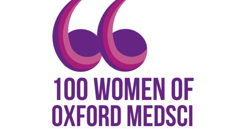 Speech marks icon with 100 Women of Oxford Medsci