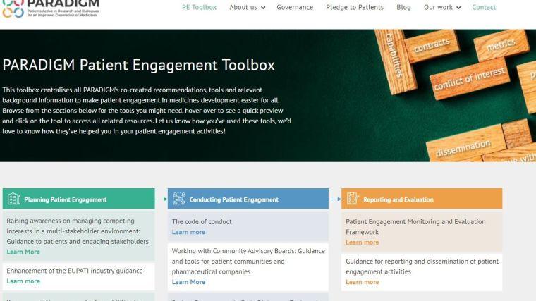 A screen capture of the PARADIGM website