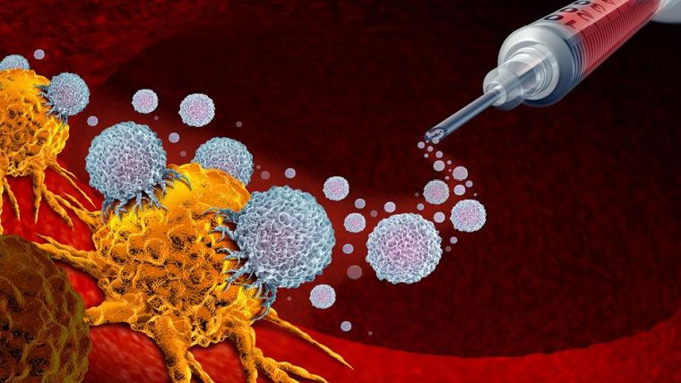 An animated drawing of a syringe releasing contents that attacks cancer cells.