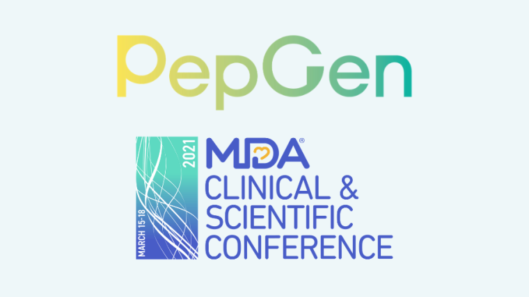 PepGen and 2021 Muscular Dystrophy Association Virtual Clinical and Scientific Conference logos.