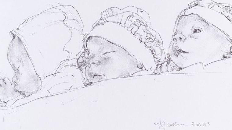 Line drawing of babies.