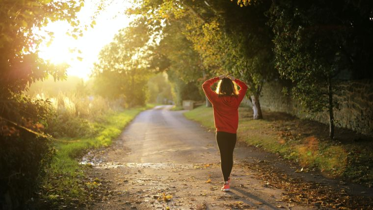 A lady doing a morning jog in the countryside with the sun shining through the trees