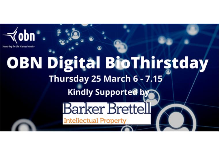 Flyer for OBN Digital BioThirstday kindly supported by Barker Brettell.
