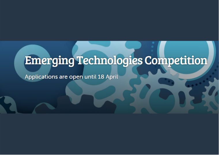 Flyer for 2021 Emerging Technologies Competition application deadline.