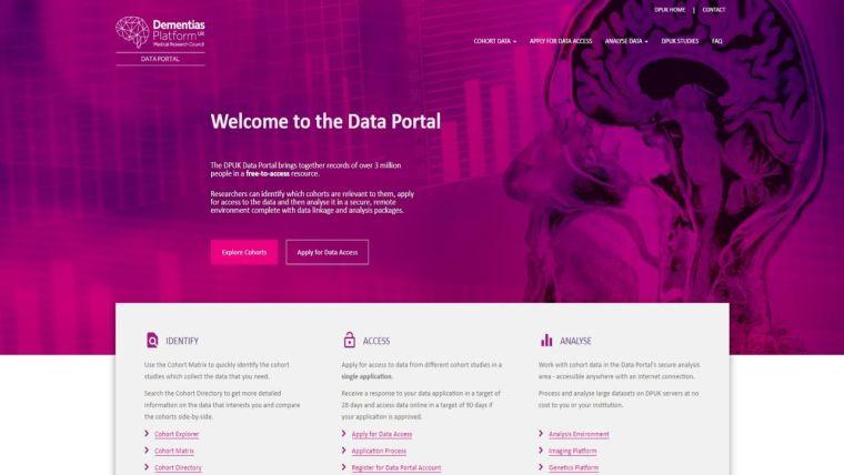 A screenshot of the DPUK Data Portal