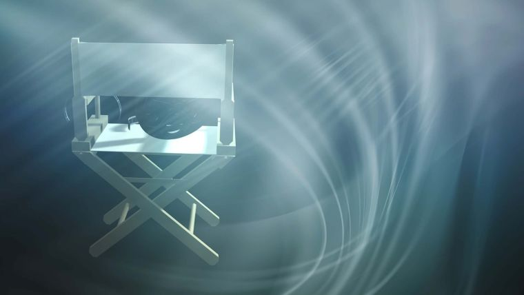 A computer generated image of a director's chair