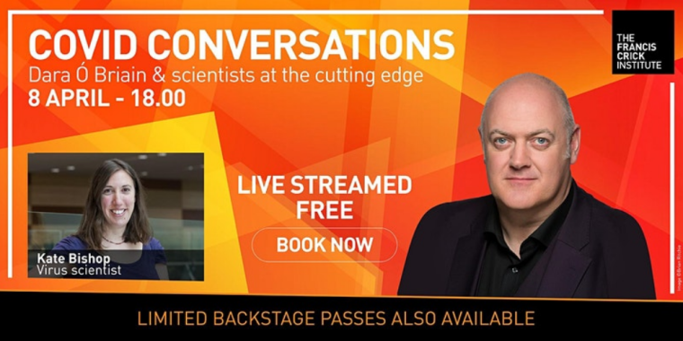 Flyer for COVID Conversations - Going viral with Dara Ó Briain