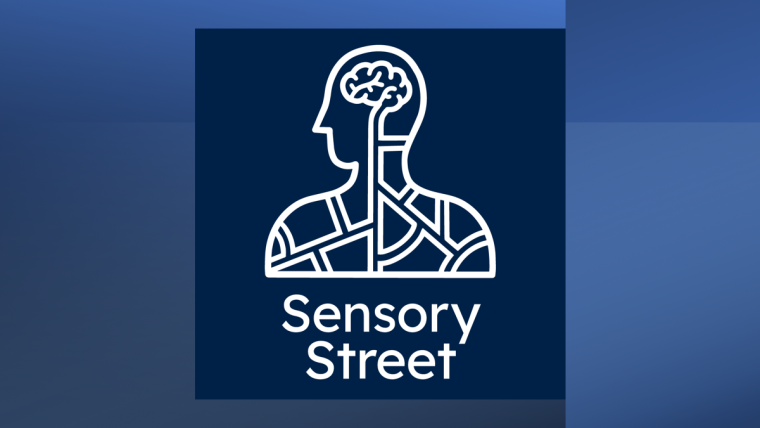 Sensory Street logo of a white line drawing of a person from the shoulders up showing the brain. Blue background.