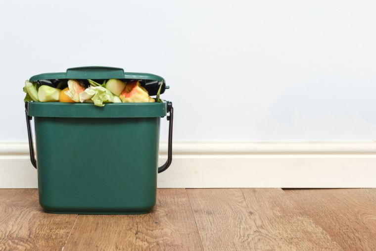 Image of a kitchen food waste caddy overflowing