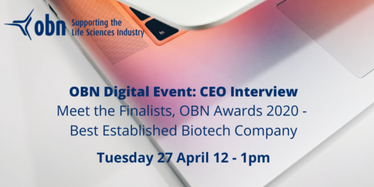 OBN Digital CEO Interview: Meet the Finalists, OBN Awards 2020 - Best Established Biotech Company flyer
