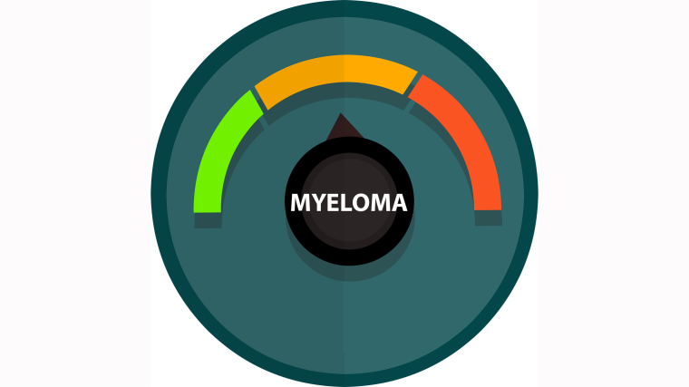 An animation showing a dial with green, amber and red risk levels for myeloma