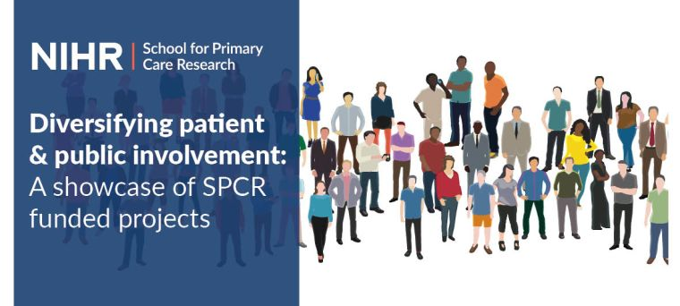 """The image shows the title of the event the blog descripes """"Diversifying Patient & Public involvement: a showcase of SPCR funded projects"""