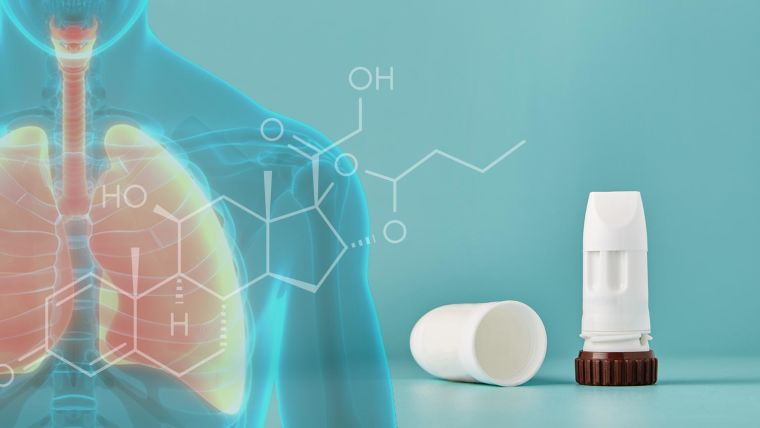 Budesonide inhaler, lungs and a chemical diagram of budesonide.