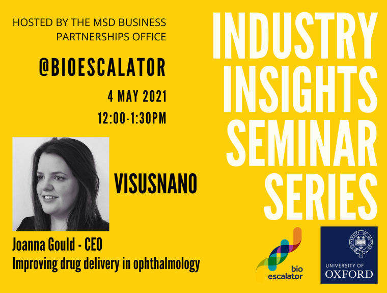 Flyer for the industry insight seminar featuring Visusnano on 4 May 2021 at 12 noon.