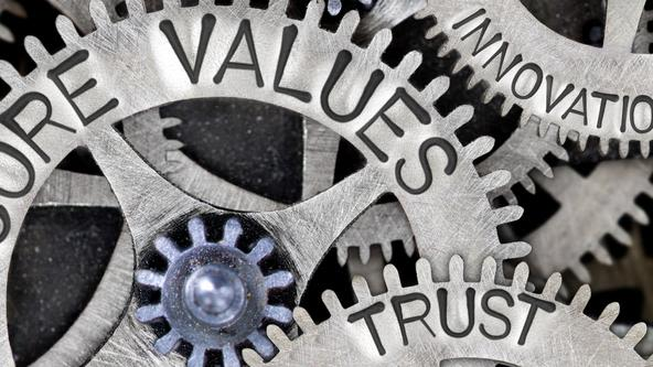 Macro photo of tooth wheel mechanism with CORE VALUES, TRUST, ETHICS, INNOVATION, RELIABILITY and TEAMWORK concept words