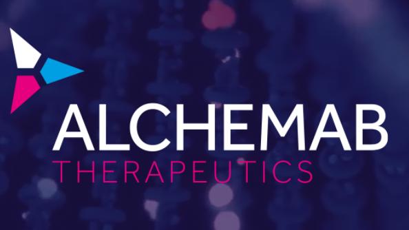 Alchemab logo on blue background