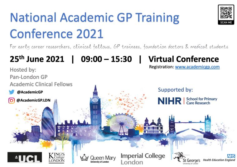 Poster announcing the NATIONAL ACADEMIC GP TRAINING CONFERENCE 2021