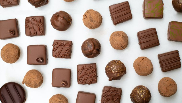 A series of small chocolate treats on a white background