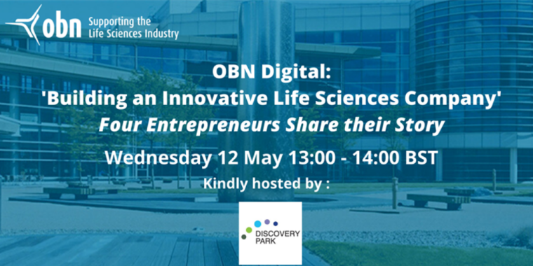 Flyer for OBN Digital Event: Building an Innovative Life Sciences Company
