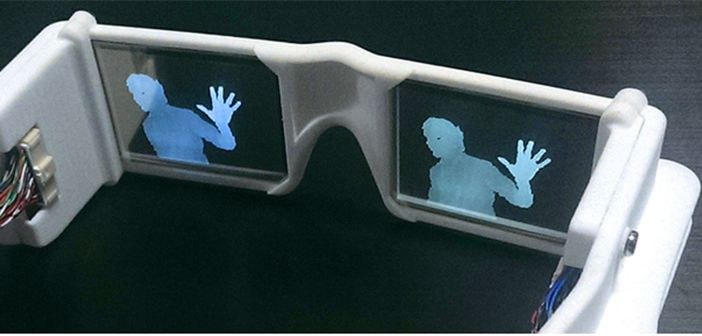 Experimental prototype of 'smart glasses' to enhance vision for poorly sighted individuals. This system has a see-through display and a special type of camera that can detect and highlight nearby objects.