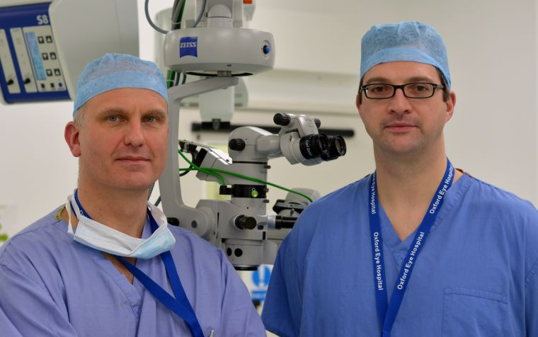 University of Oxford surgeons Prof Robert MacLaren and Mr Markus Groppe are currently running the retinal gene therapy trial at the Oxford Eye Hospital, part of the Oxford University Hospitals NHS Trust